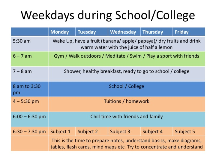 best time table for school  u0026 college students